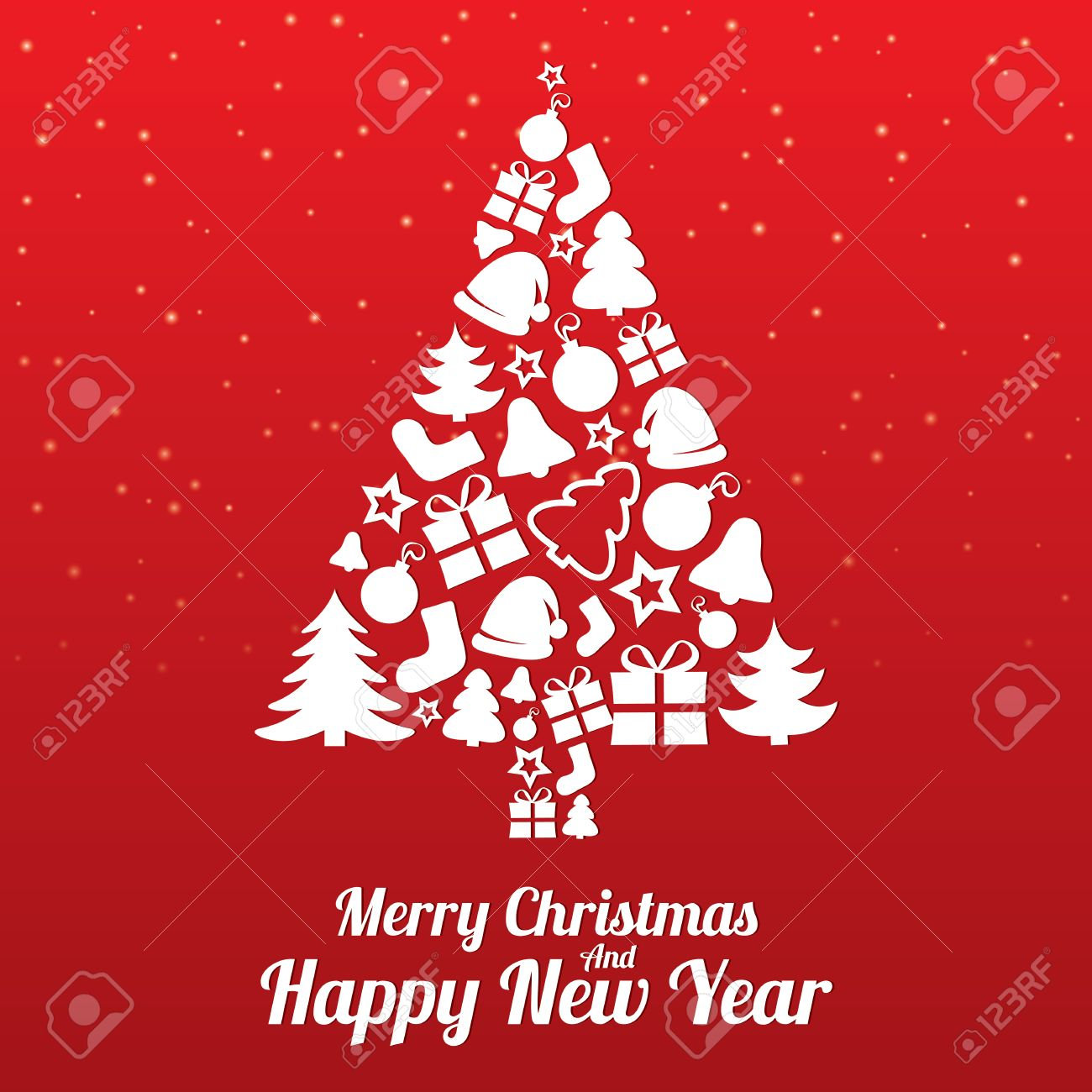 Merry Christmas Greeting Card Christmas Tree Of Flat Icons Stock