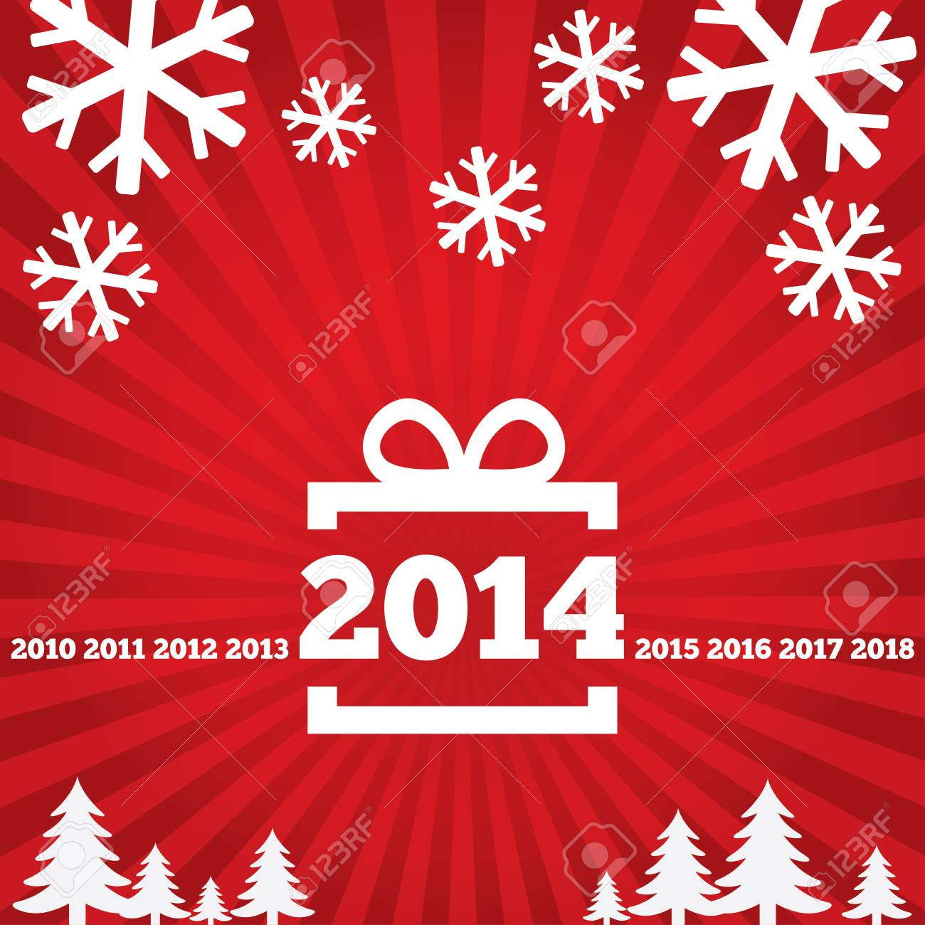 Happy New Year greeting card with flat icons, 2014. Christmas gift, tree, snowflake. Stock Photo - 23801167