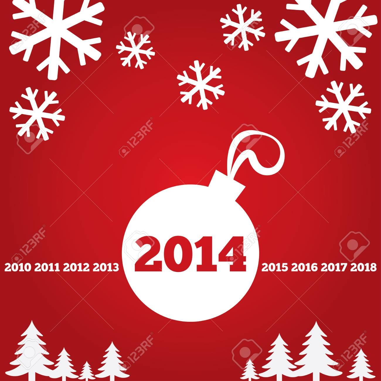 Frohes Neues Jahr-Grußkarte Mit Flachen Icons 2014. Christmas Ball ...