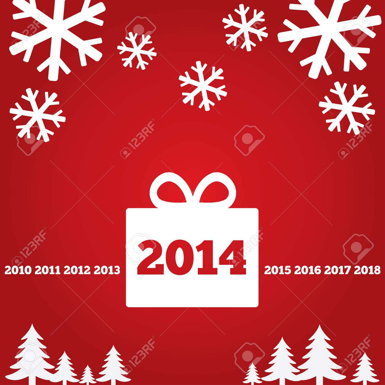 Happy New Year Greetings Card With Flat Icons, 2014. Christmas ...