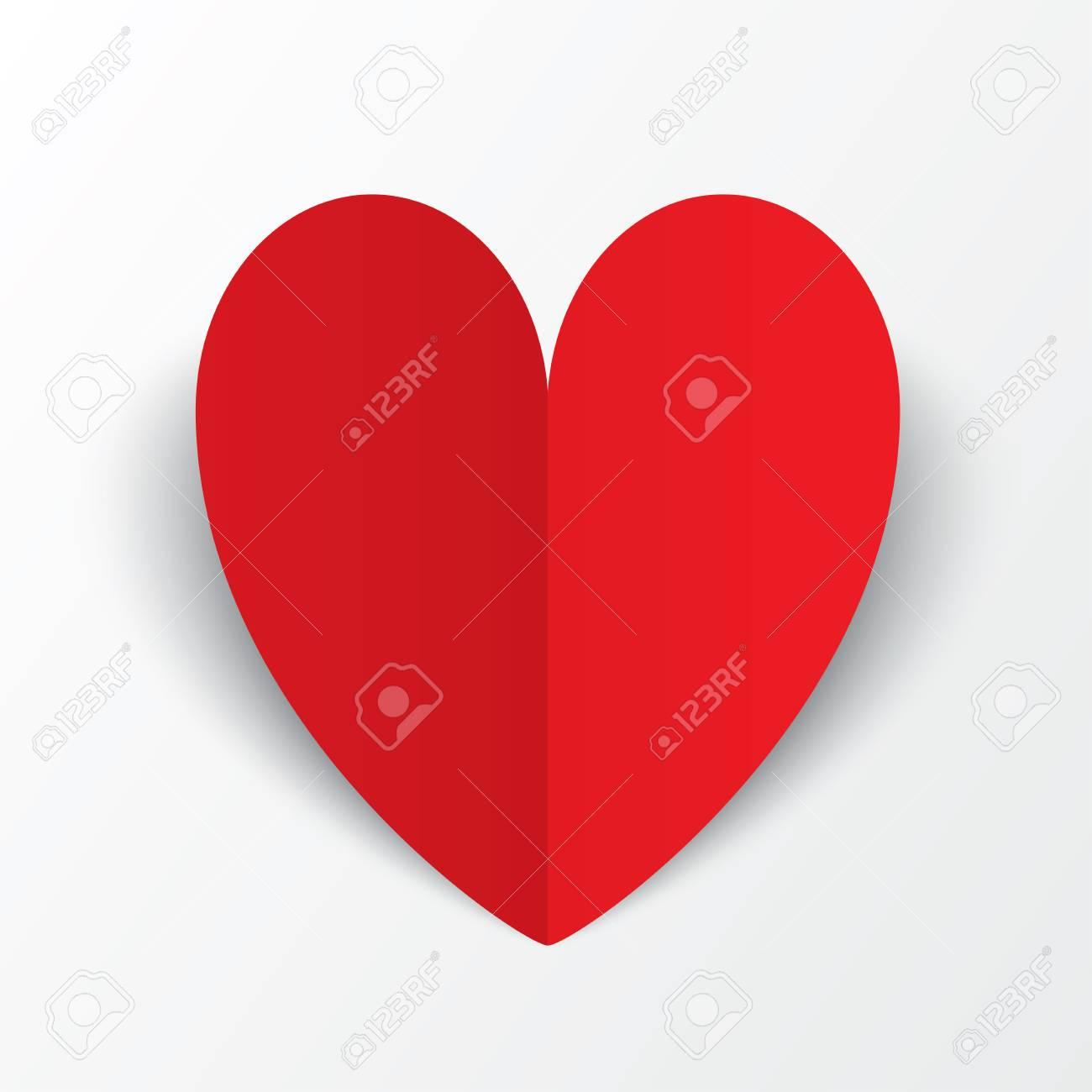 Fabulous Red Papier Herz-Valentinstag-Karte Auf Weiß. Abstrakt Mit Herz YV38