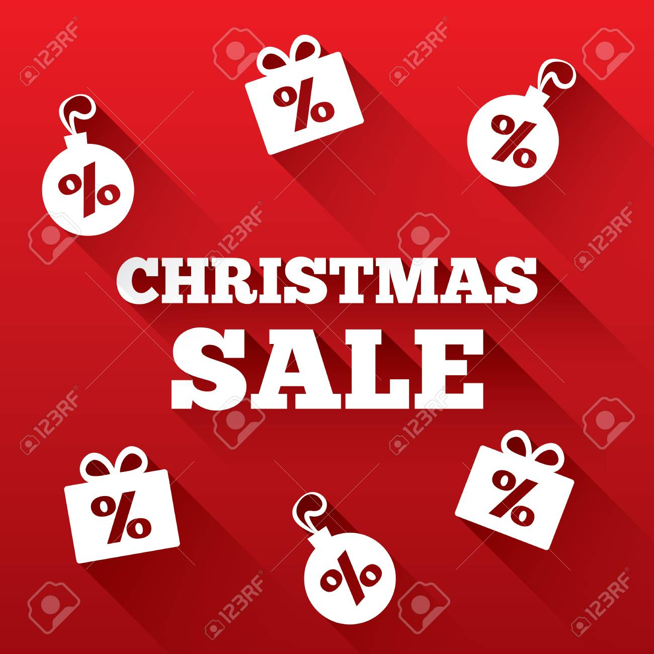Christmas Sale Background. Christmas Gifts, Balls Cut From Paper ...