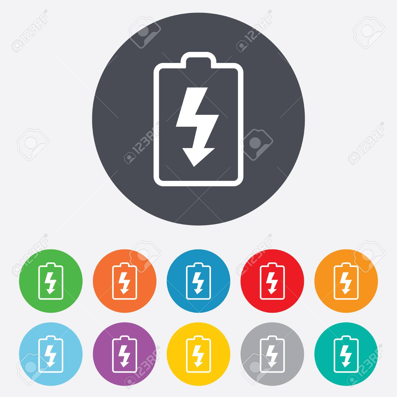 Battery charging sign icon. Lightning symbol. Round colourful 11 buttons. Vector Stock Vector - 25355404