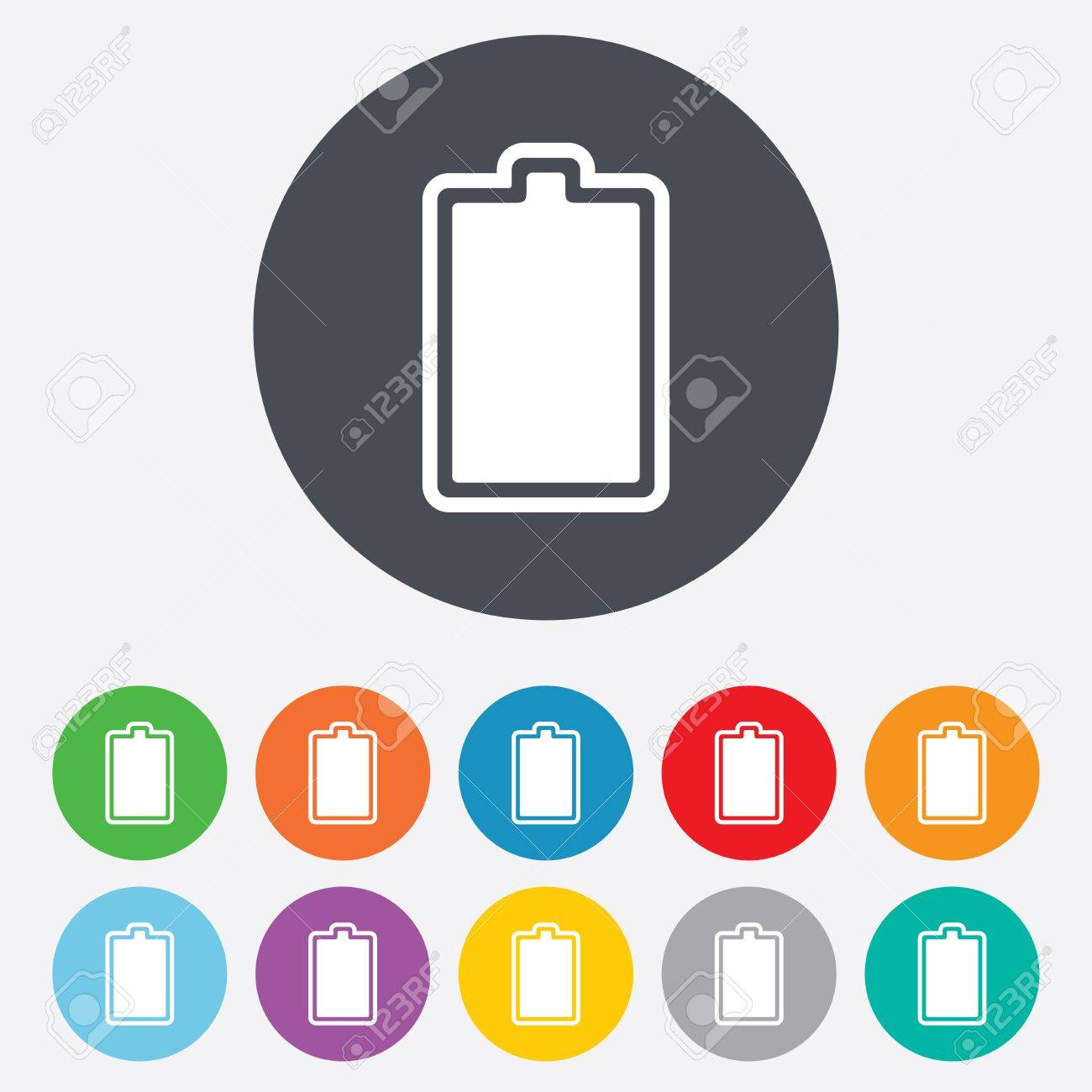 Battery fully charged sign icon. Electricity symbol. Round colourful 11 buttons. Vector Stock Vector - 25355409