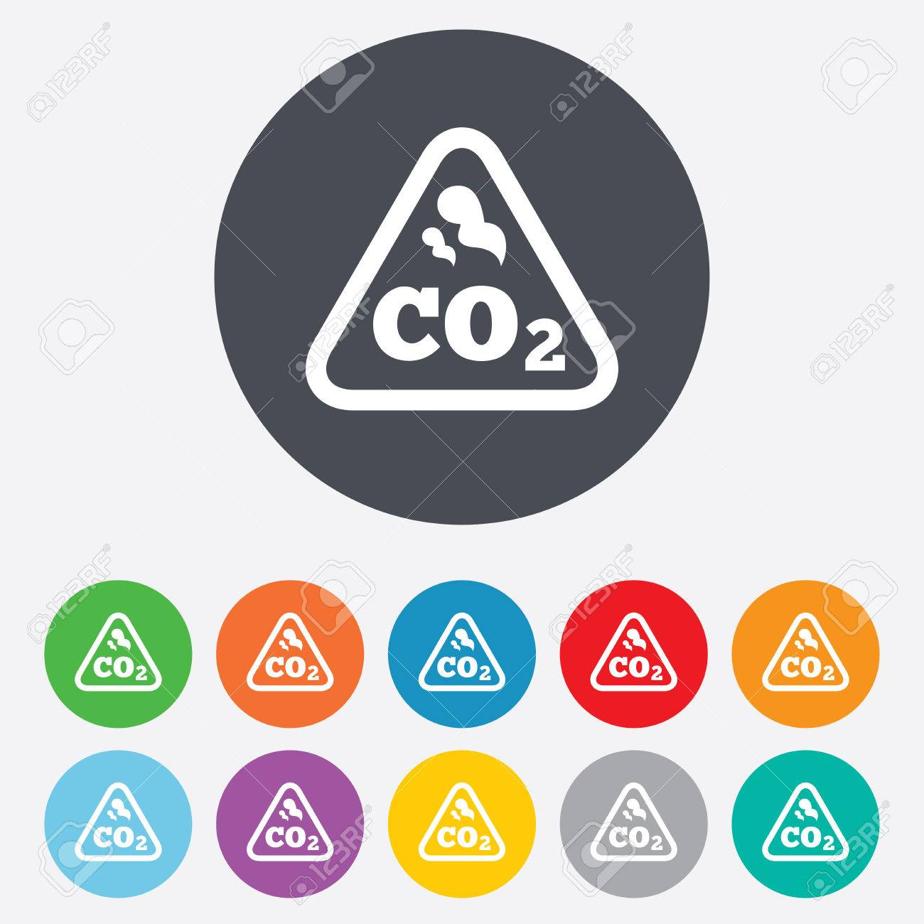 Co2 carbon dioxide formula sign icon chemistry symbol round co2 carbon dioxide formula sign icon chemistry symbol round colourful 11 buttons vector buycottarizona Images