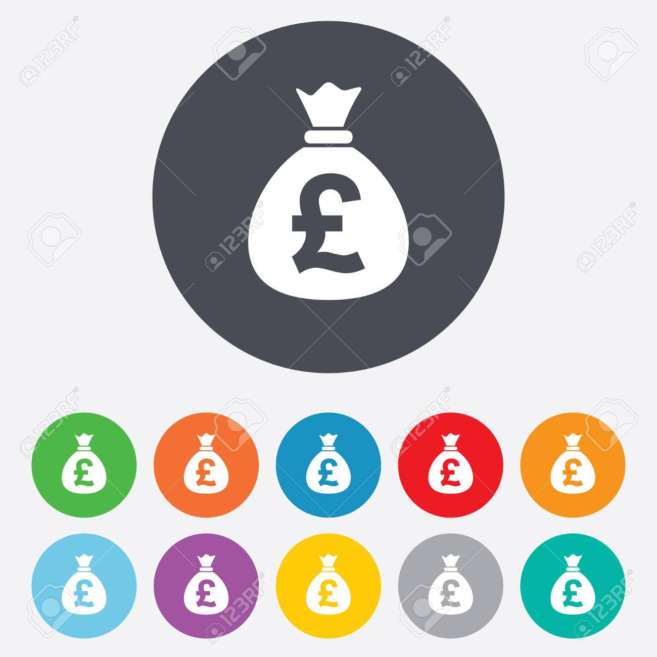 Money bag sign icon pound gbp currency symbol round colourful pound gbp currency symbol round colourful 11 buttons vector buycottarizona Choice Image