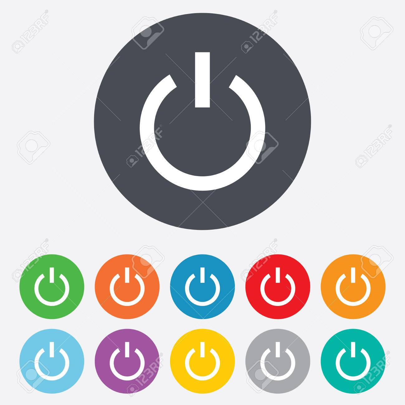 Power Sign Icon. Switch On Symbol. Turn On Energy. Round Colourful ...