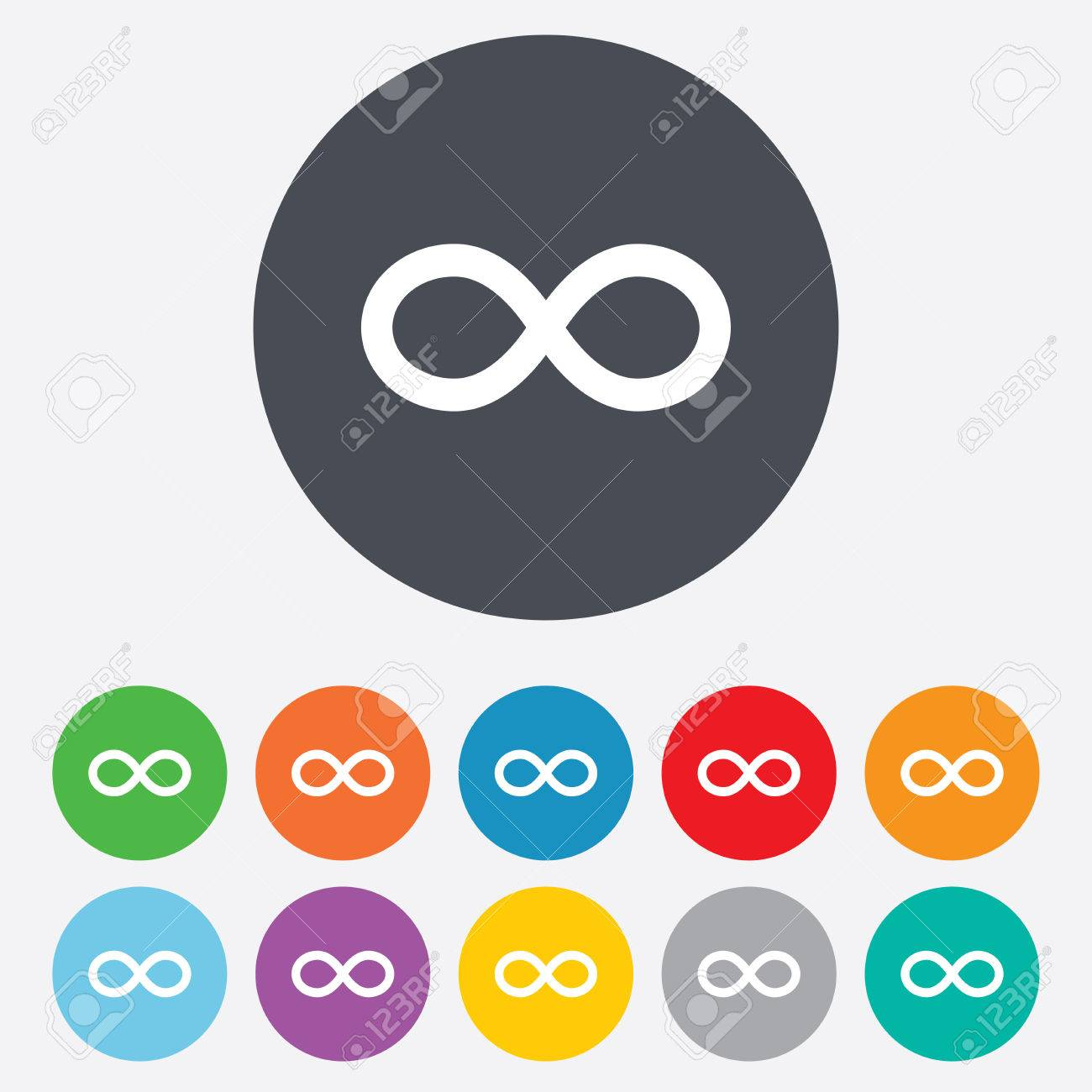 Repeat Icon Loop Symbol Infinity Sign Round Colourful 11 Buttons