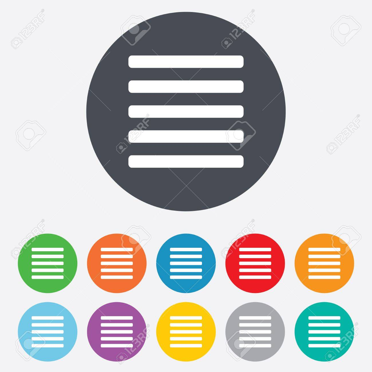List sign icon. Content view option symbol. Round colourful 11 buttons. Stock Photo - 25416625