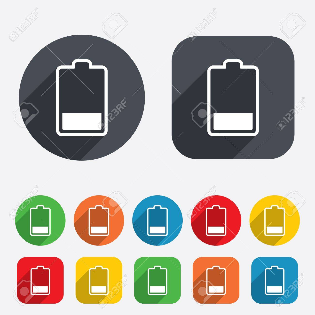 Battery low level sign icon. Electricity symbol. Circles and rounded squares 12 buttons. Stock Photo - 25820205