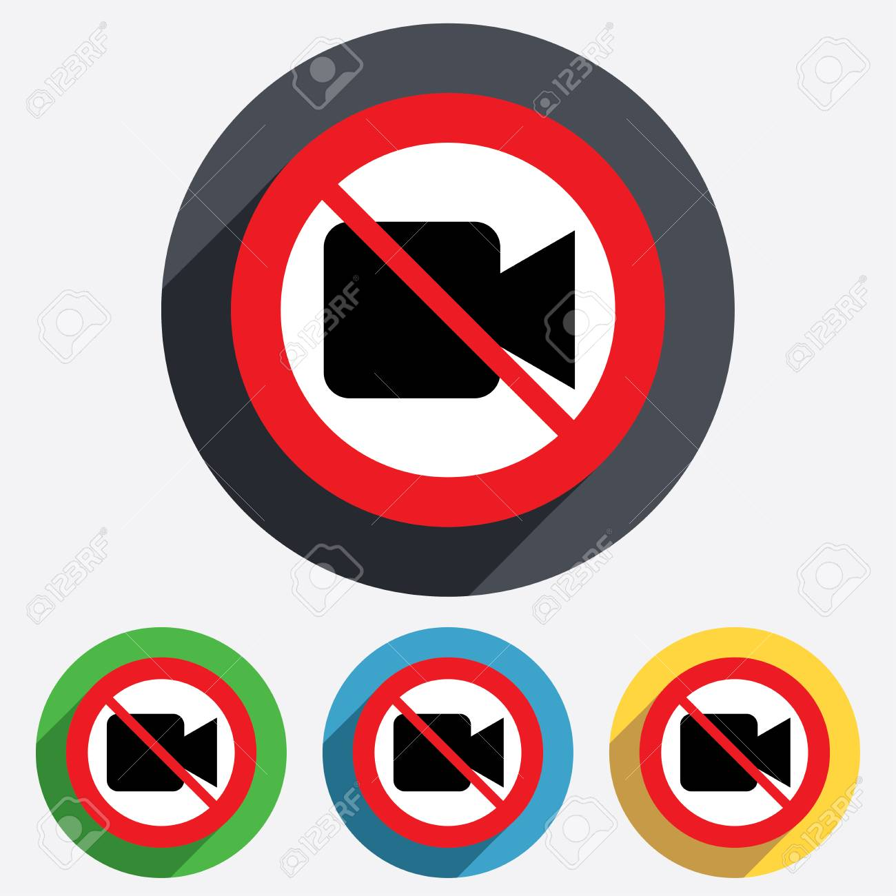 Do not record. Video camera sign icon. Video content button. Red circle prohibition sign. Stop flat symbol. Stock Photo - 25833451