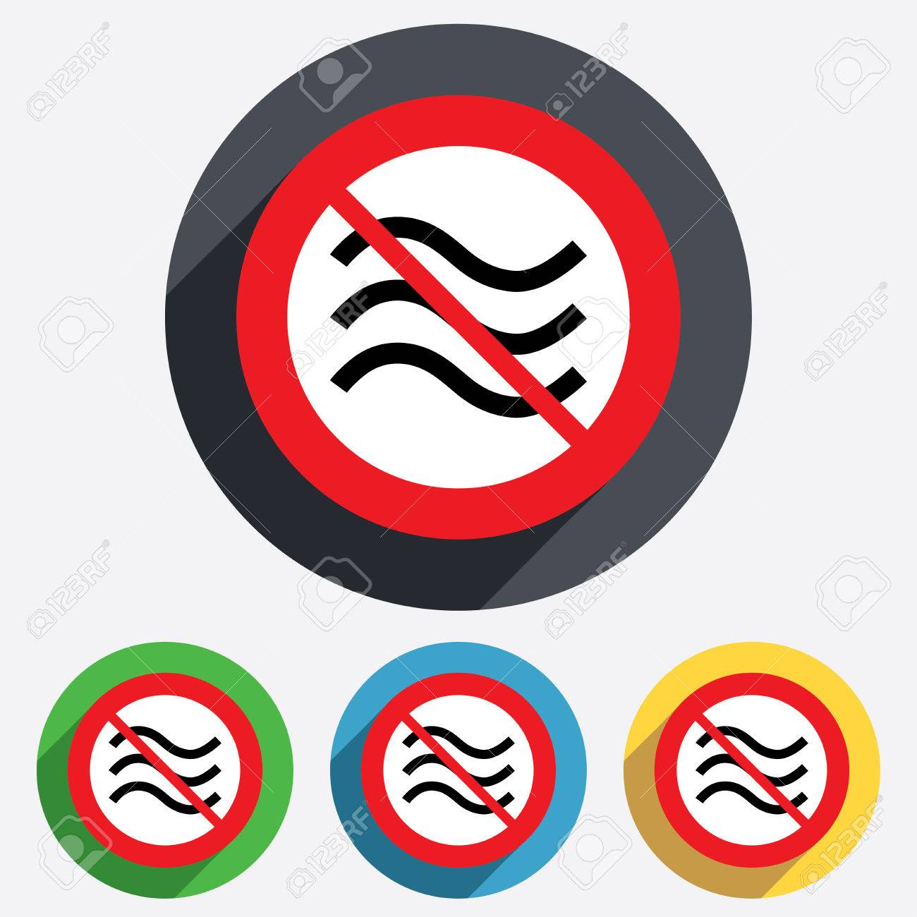 No Water Waves Sign Icon Do Not Wash Swimming Not Allowed Stock