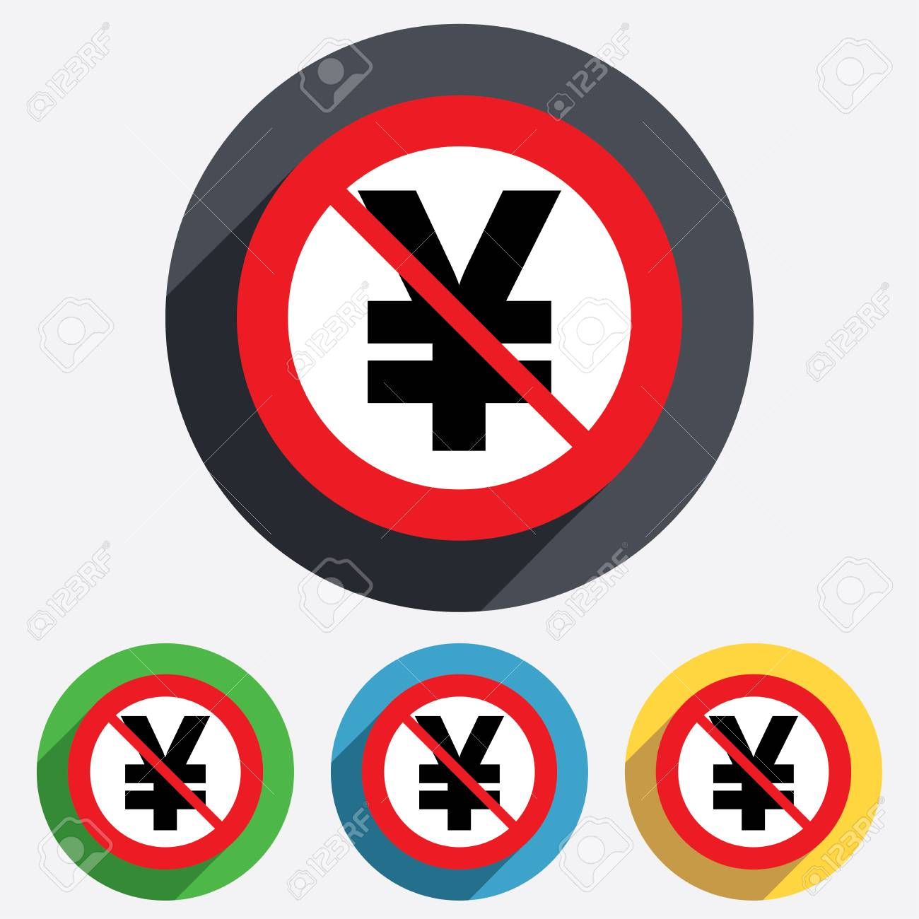 Not Allowed Yen Sign Icon Jpy Currency Symbol Money Label Stock