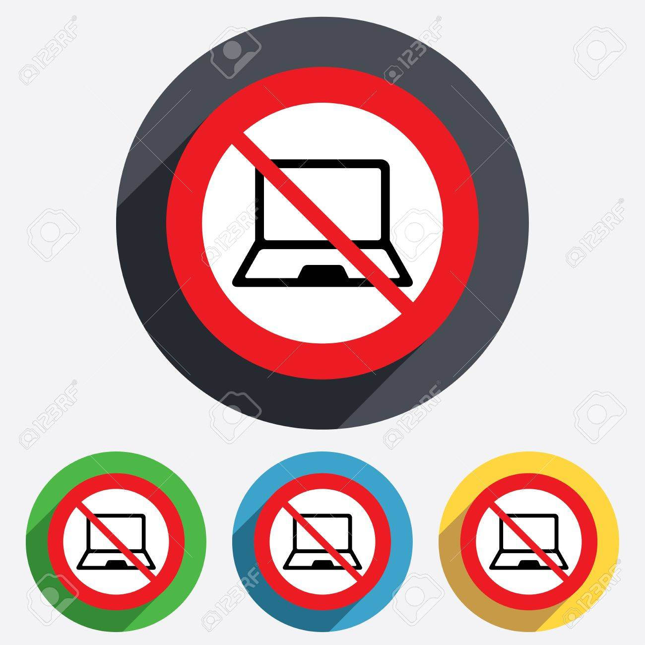 No Laptop Sign Icon Notebook Pc Symbol Red Circle Prohibition