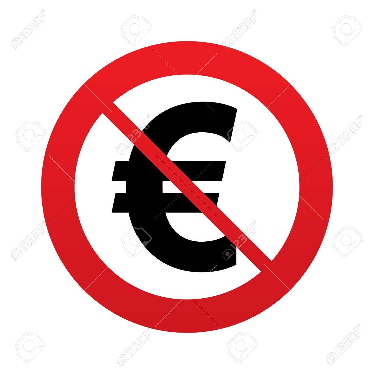 No Euro Sign Icon. EUR Currency Symbol. Money Label. Red Prohibition..  Stock Photo, Picture And Royalty Free Image. Image 25833691.