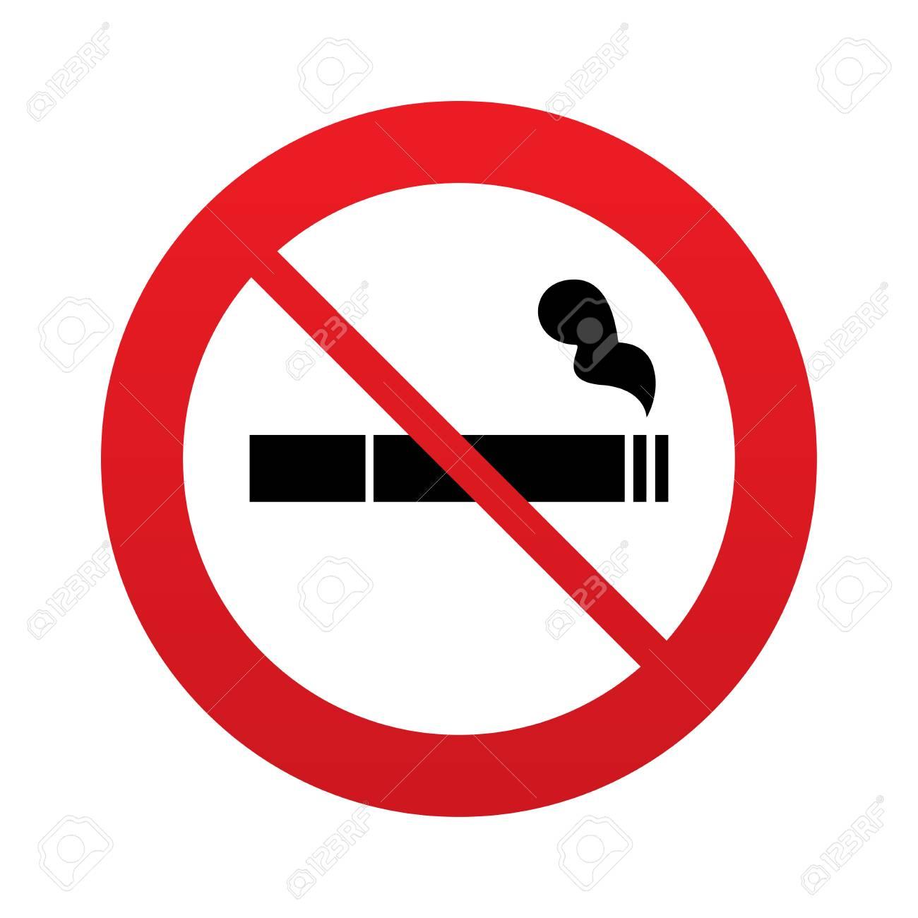 Ne Pas Fumer Signe Icône. Symbole De La Cigarette. Panneau Du0027interdiction  Rouge