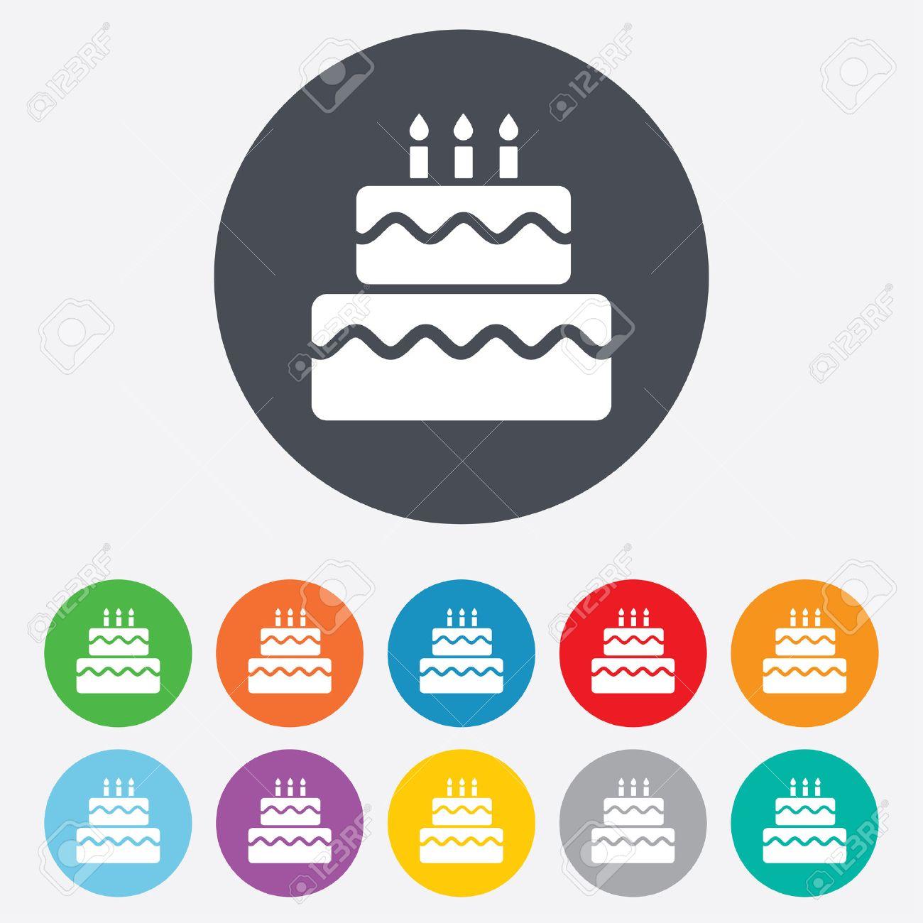 Birthday cake sign icon cake with burning candles symbol round birthday cake sign icon cake with burning candles symbol round colourful 11 buttons buycottarizona