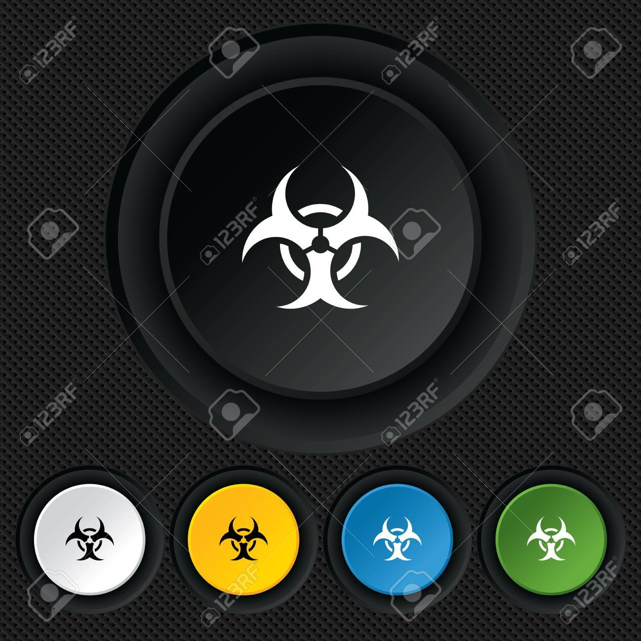 Biohazard sign icon. Danger symbol. Round colourful buttons on black texture. Vector Stock Vector - 26124482