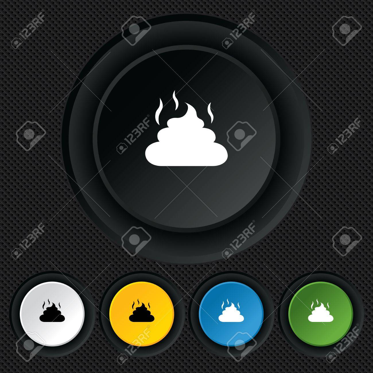 Feces sign icon. Clean up after pets symbol. Put it in the bag. Round colourful buttons on black texture. Vector Stock Vector - 26126384