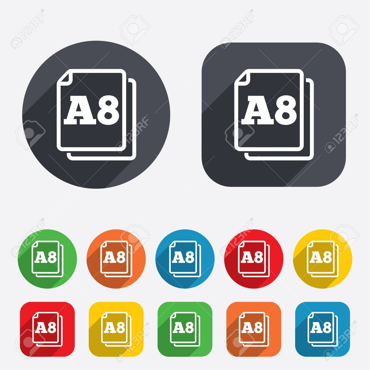Paper size A8 standard icon. File document symbol. Circles and rounded squares 12 buttons. Vector Stock Vector - 26211129