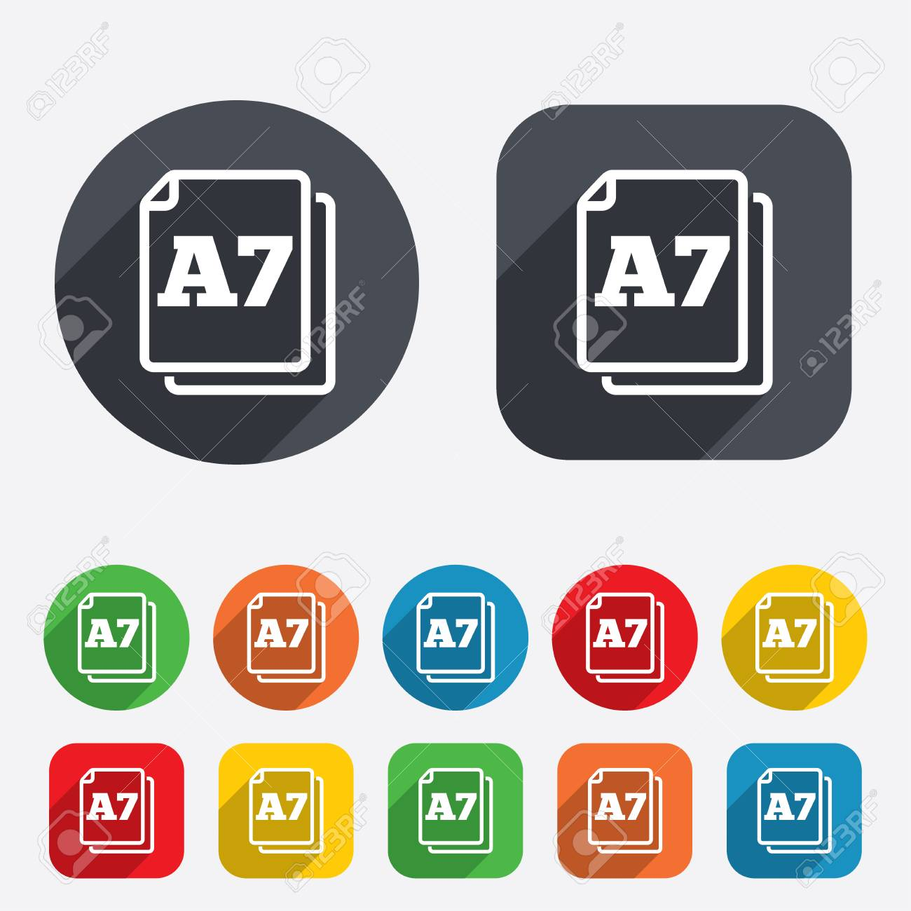Paper size A7 standard icon. File document symbol. Circles and rounded squares 12 buttons. Vector Stock Vector - 26211431