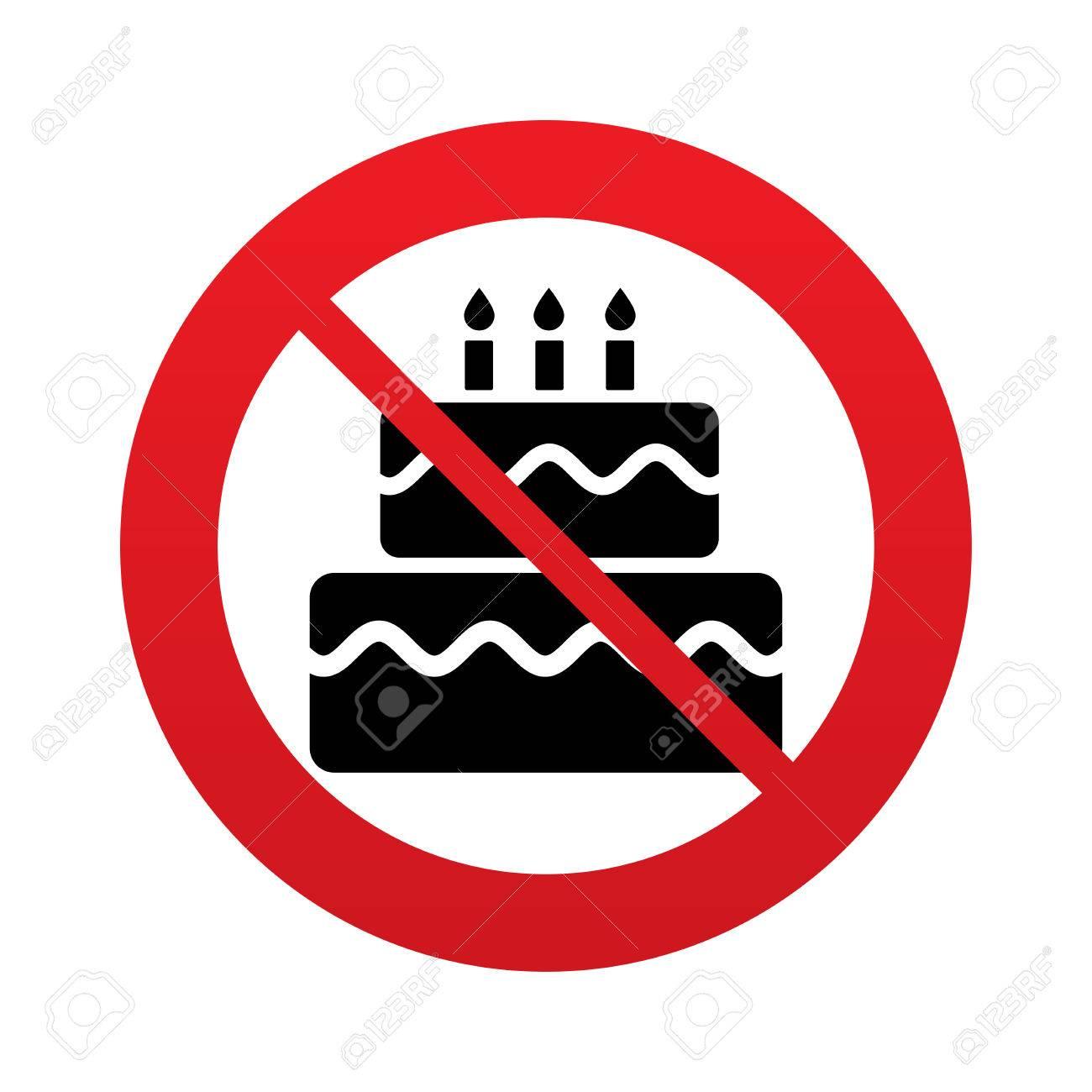 Birthday cake sign icon cake with burning candles symbol red birthday cake sign icon cake with burning candles symbol red prohibition sign stop buycottarizona