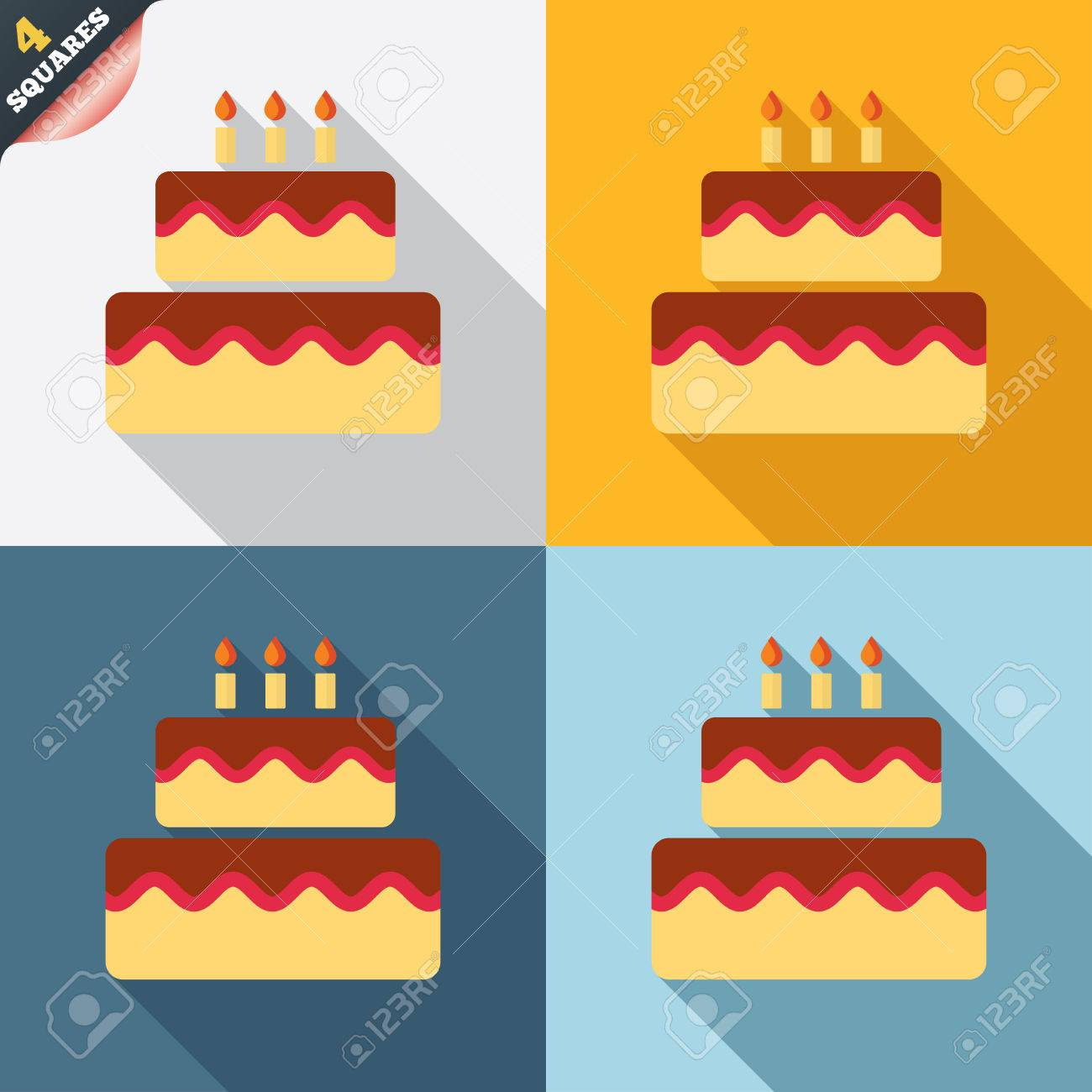 Birthday Cake Sign Icon Cake With Burning Candles Symbol Four