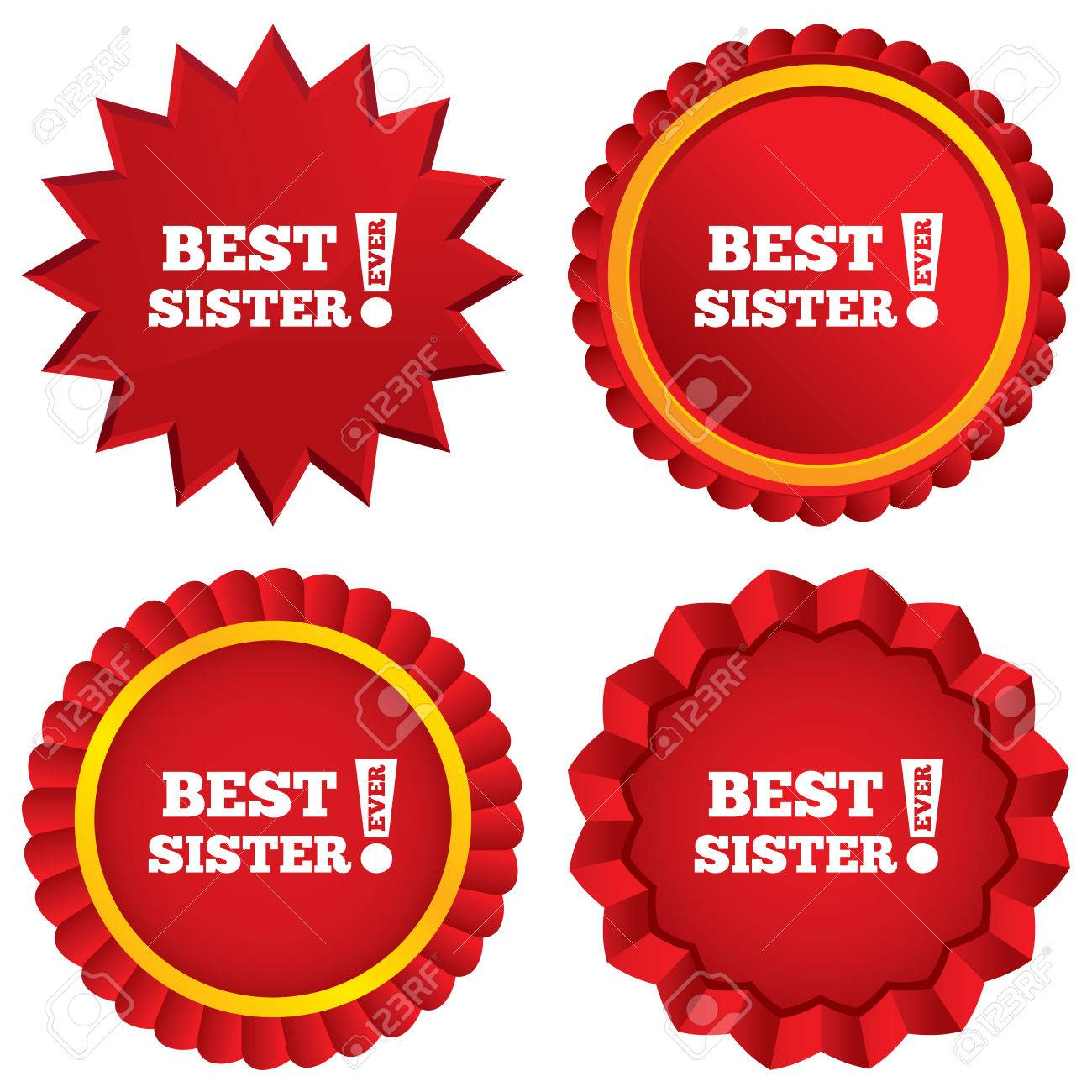 best sister ever sign icon award symbol exclamation mark red