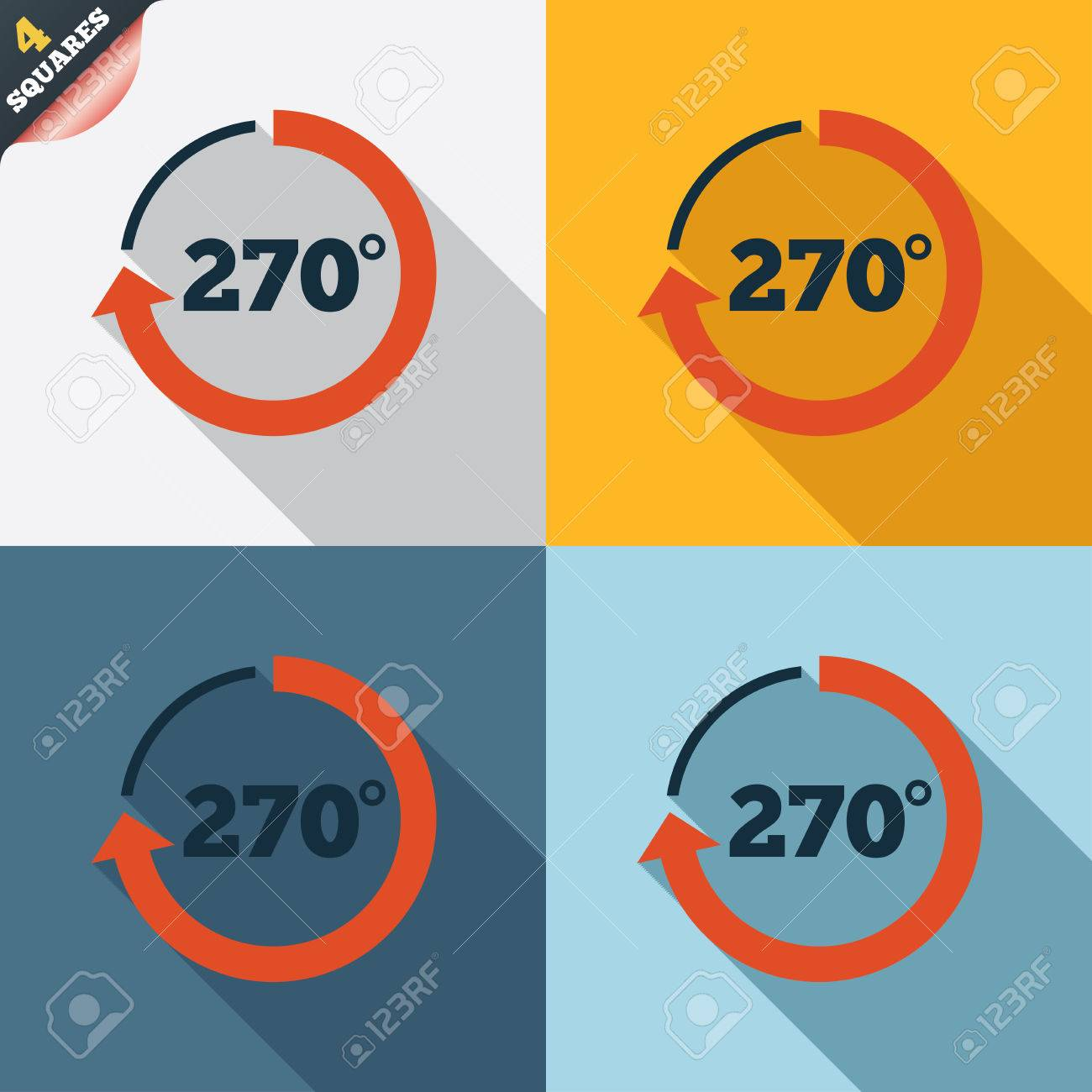 Angle 270 Degrees Sign Icon. Geometry Math Symbol. Four Squares ...