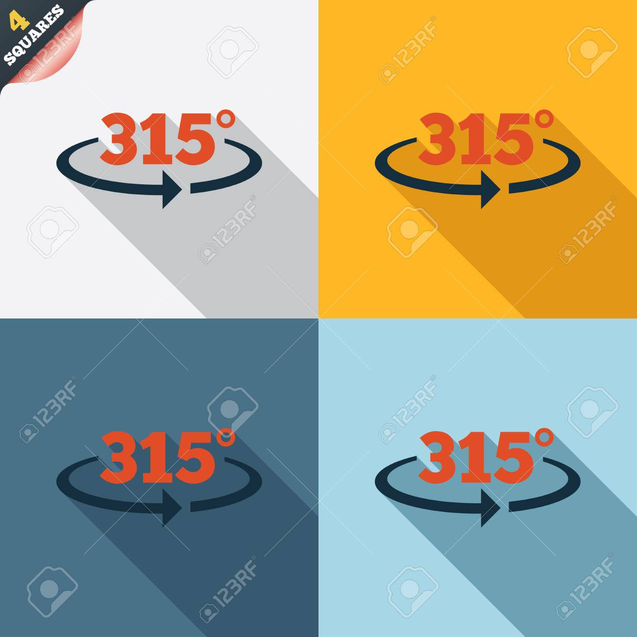 Angle 315 Degrees Sign Icon. Geometry Math Symbol. Four Squares ...