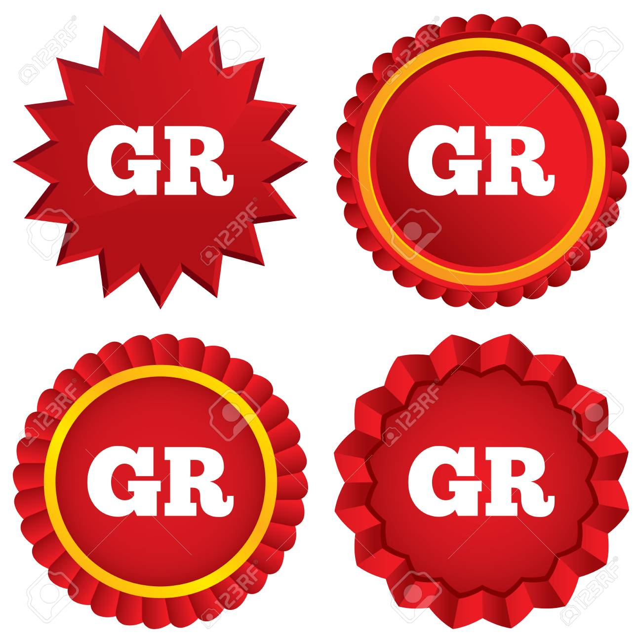 GR Greece translation symbol. Red stars stickers. Certificate emblem