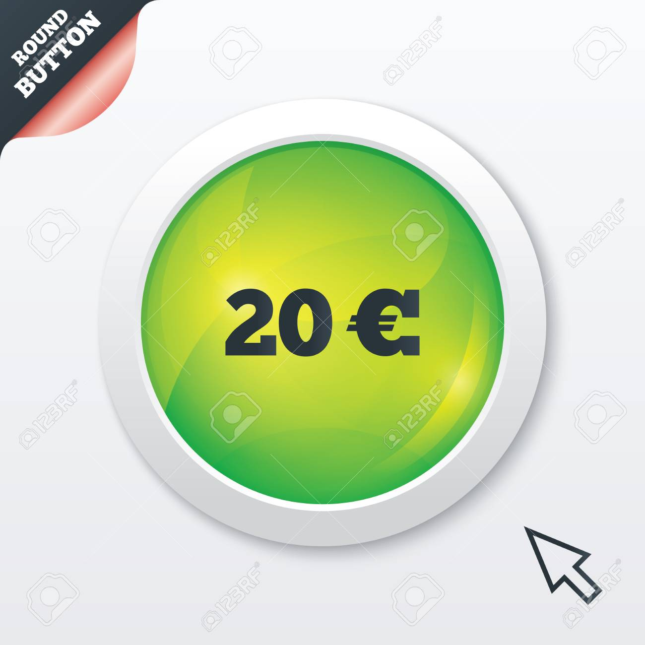 20 Euro Sign Icon Eur Currency Symbol Money Label Green Shiny