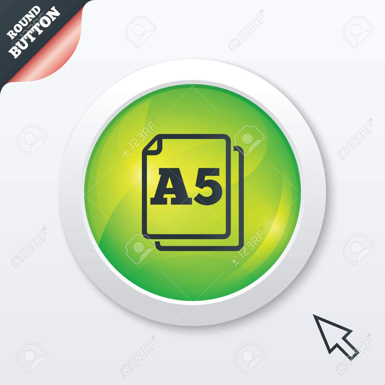 Paper size A5 standard icon. File document symbol. Green shiny button. Modern UI website button with mouse cursor pointer. Vector Stock Vector - 26851556
