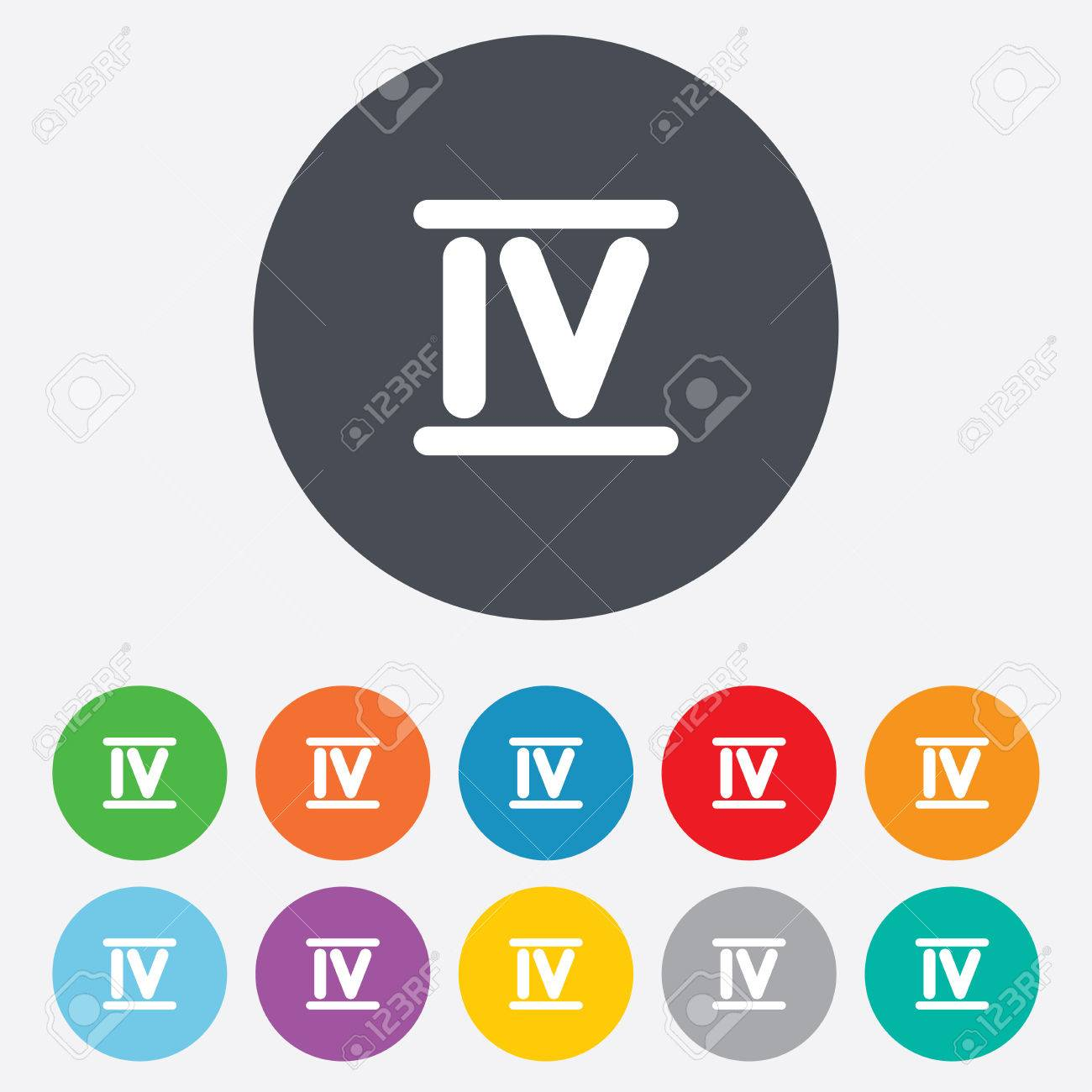 Worksheet Roman Numerals Four roman numeral four sign icon number symbol round colourful 11 buttons