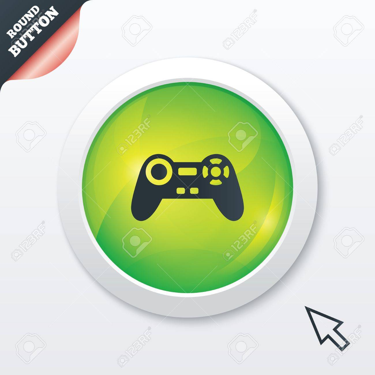 Joystick sign icon  Video game symbol  Green shiny button  Modern