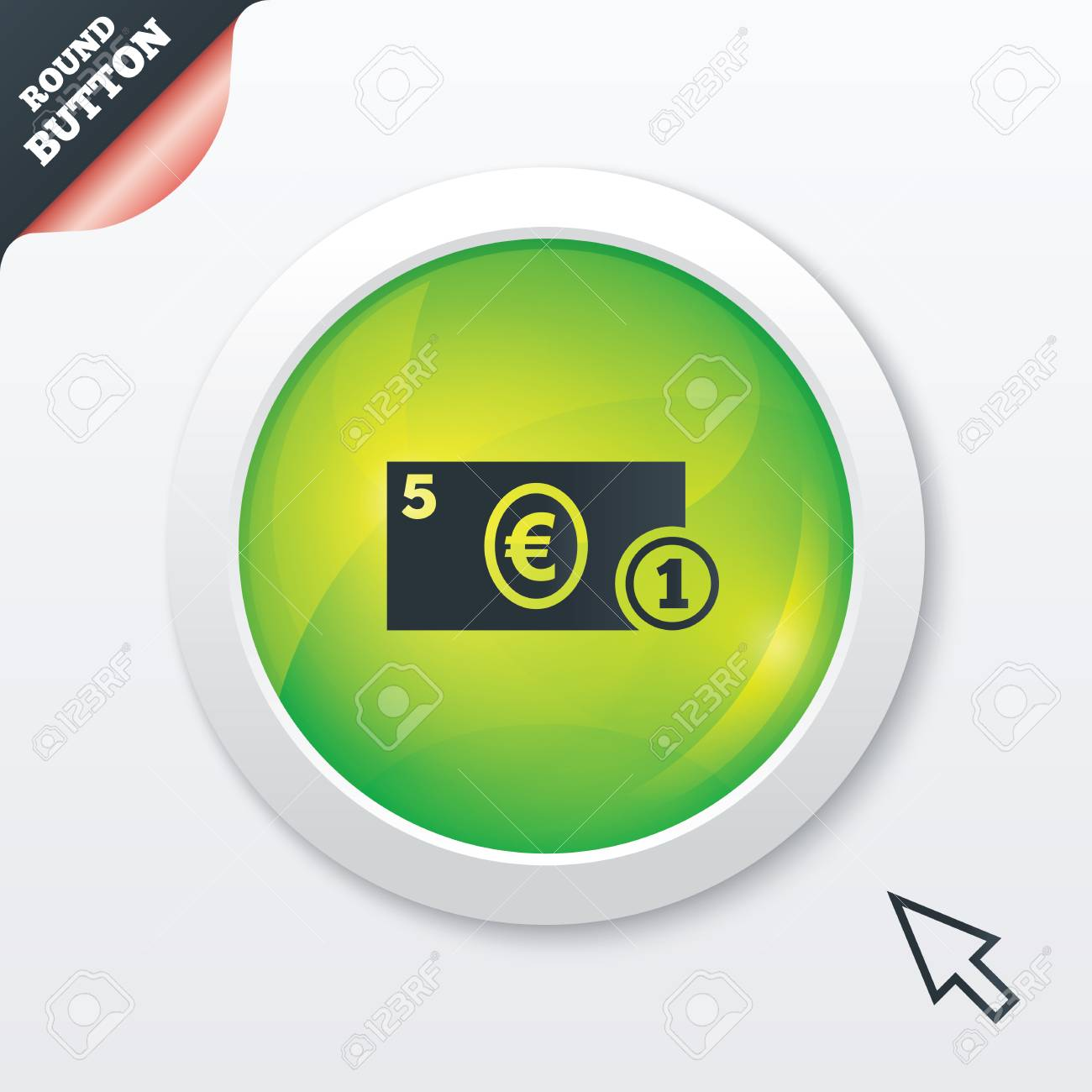Cash Sign Icon Euro Money Symbol Eur Coin And Paper Money Stock