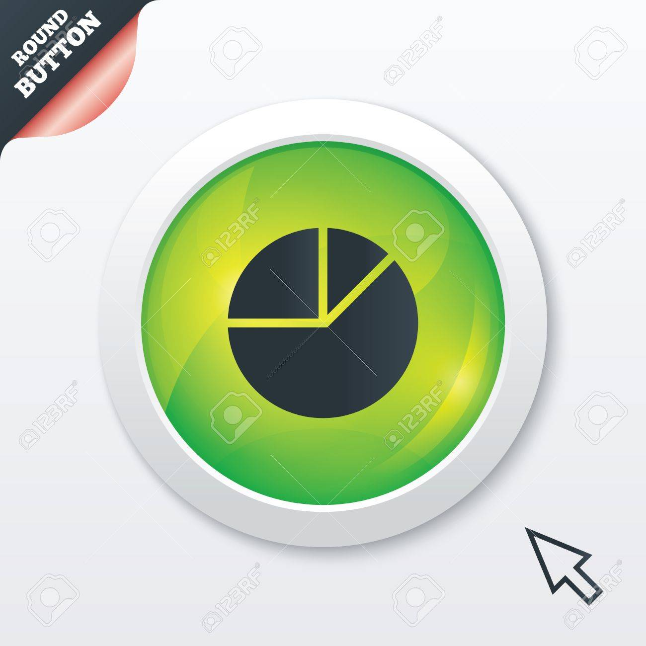 Pie chart graph sign icon  Diagram button  Green shiny button