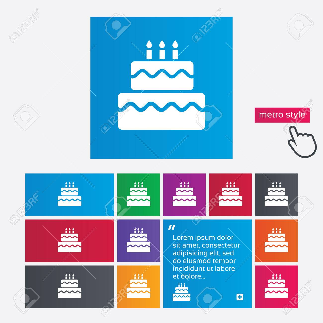 Birthday Cake Sign Icon Cake With Burning Candles Symbol Metro