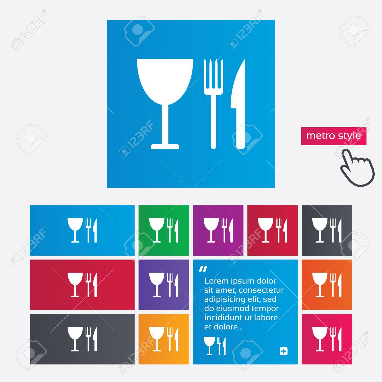 Eat Sign Icon Cutlery Symbol Knife Fork And Wineglass Metro