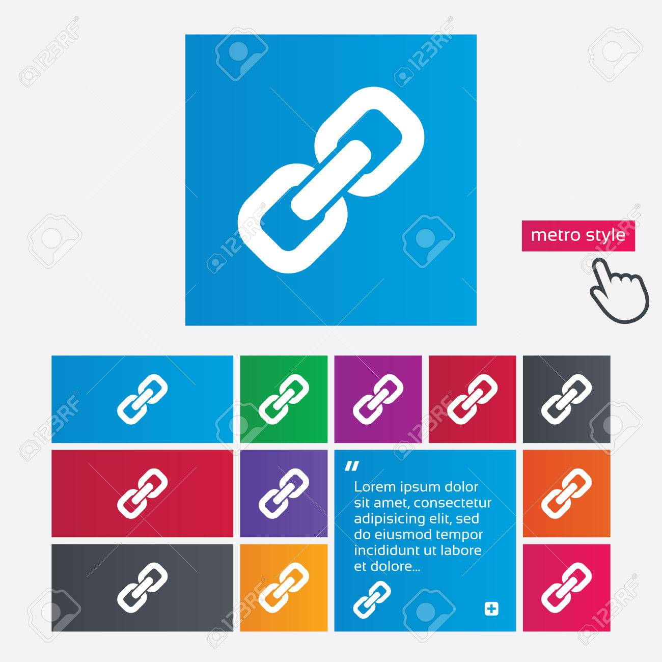 Link sign icon. Hyperlink chain symbol. Metro style buttons. Modern interface website buttons with hand cursor pointer. Vector Stock Vector - 27513722