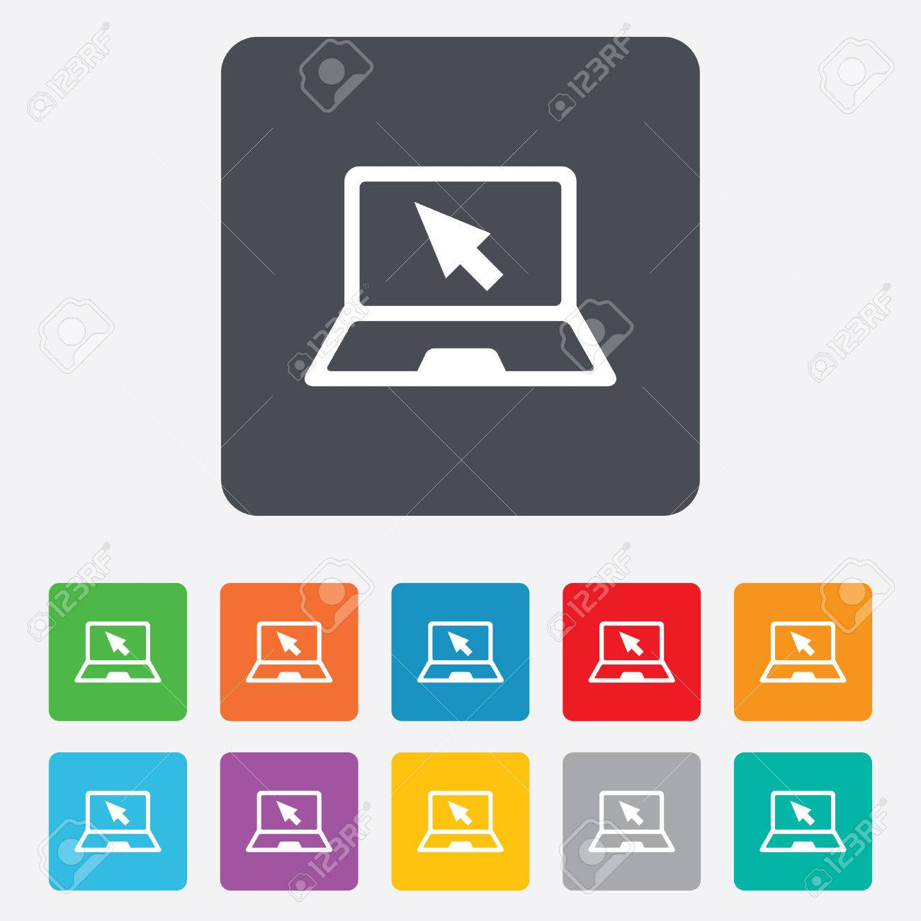 Laptop sign icon. Notebook pc with cursor pointer symbol. Rounded squares 11 buttons. Vector Stock Vector - 27677767