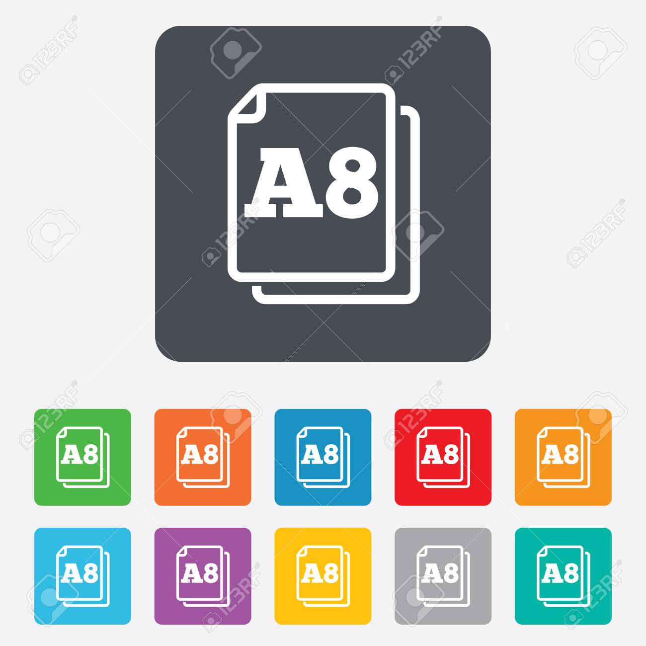 Paper size A8 standard icon. File document symbol. Rounded squares 11 buttons. Vector Stock Vector - 27677803