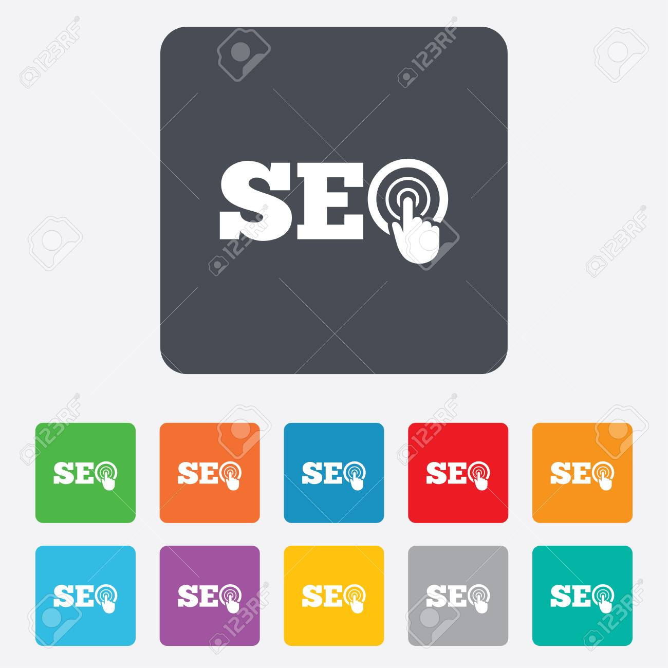 SEO sign icon  Search Engine Optimization symbol  Rounded squares