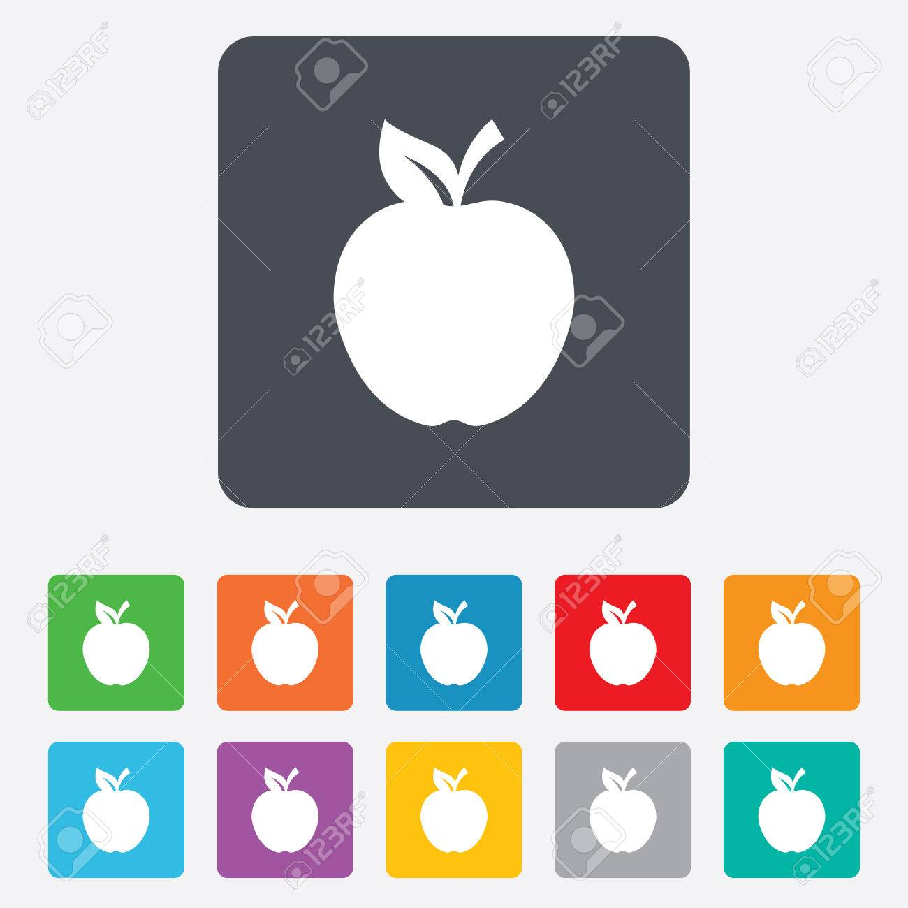 Apple Sign Icon Fruit With Leaf Symbol