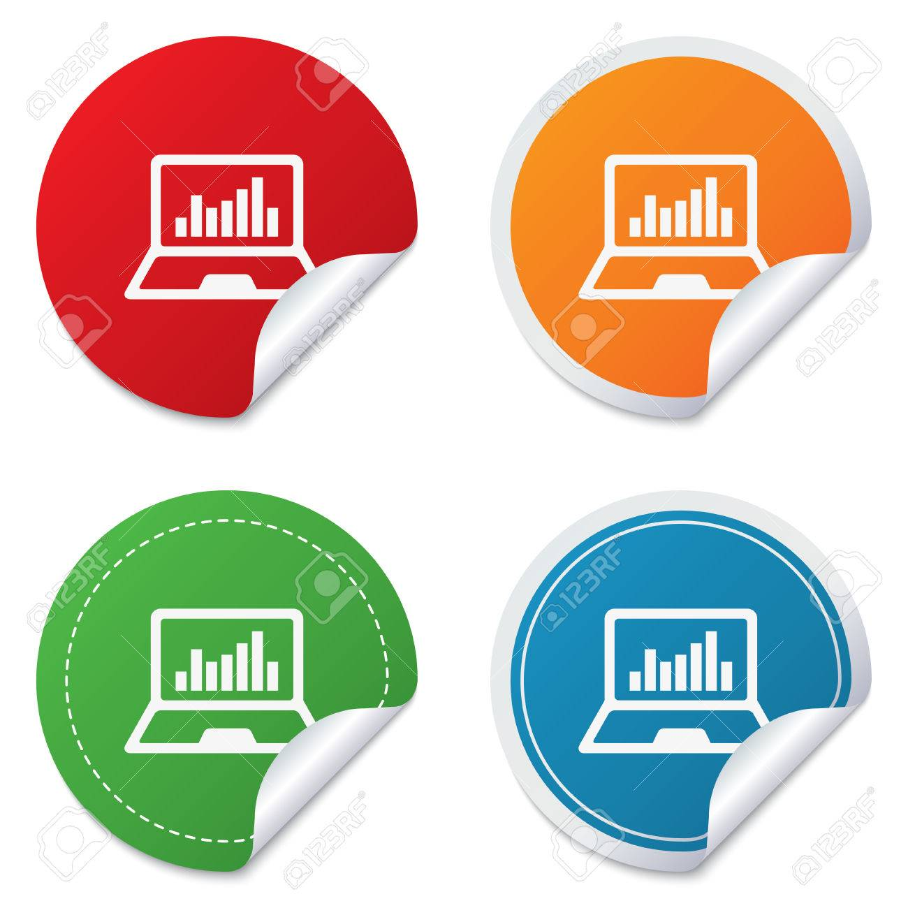 Laptop sign icon. Notebook pc with graph symbol. Monitoring. Round stickers. Circle labels with shadows. Curved corner. Vector Stock Vector - 27739312