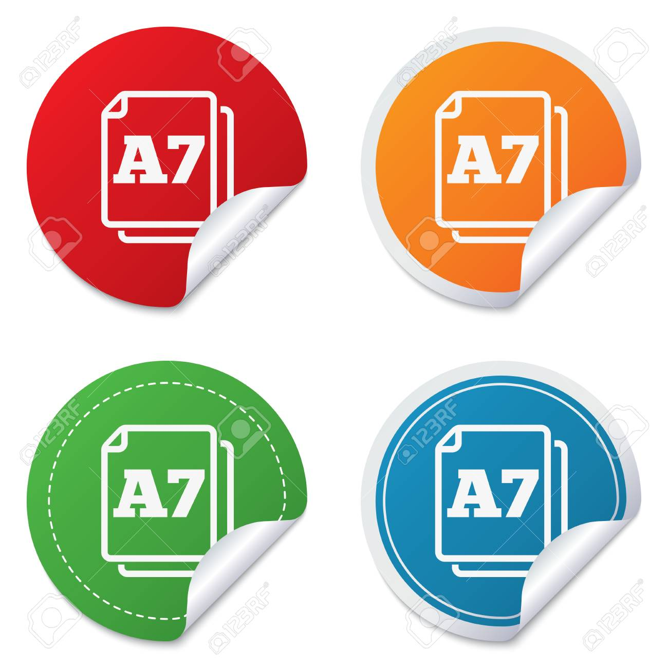 Paper size A7 standard icon. File document symbol. Round stickers. Circle labels with shadows. Curved corner. Vector Stock Vector - 27739383