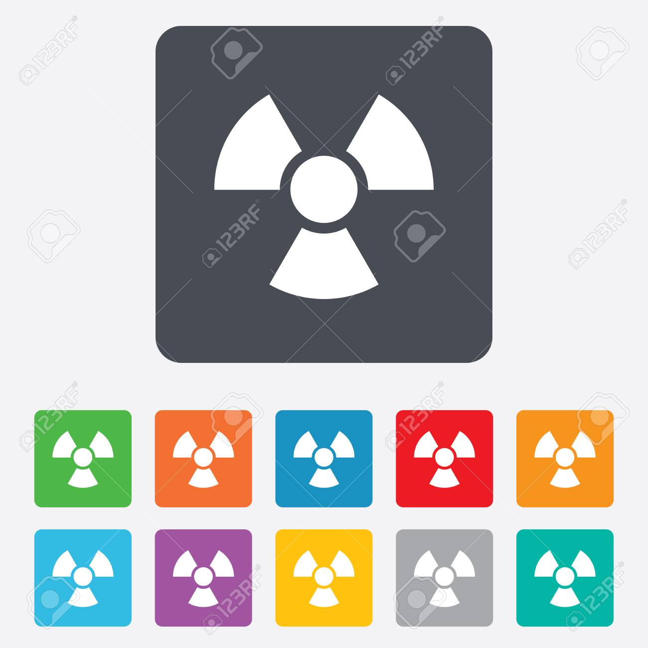 Radiation sign icon. Danger symbol. Rounded squares 11 buttons. Stock Photo - 27797187