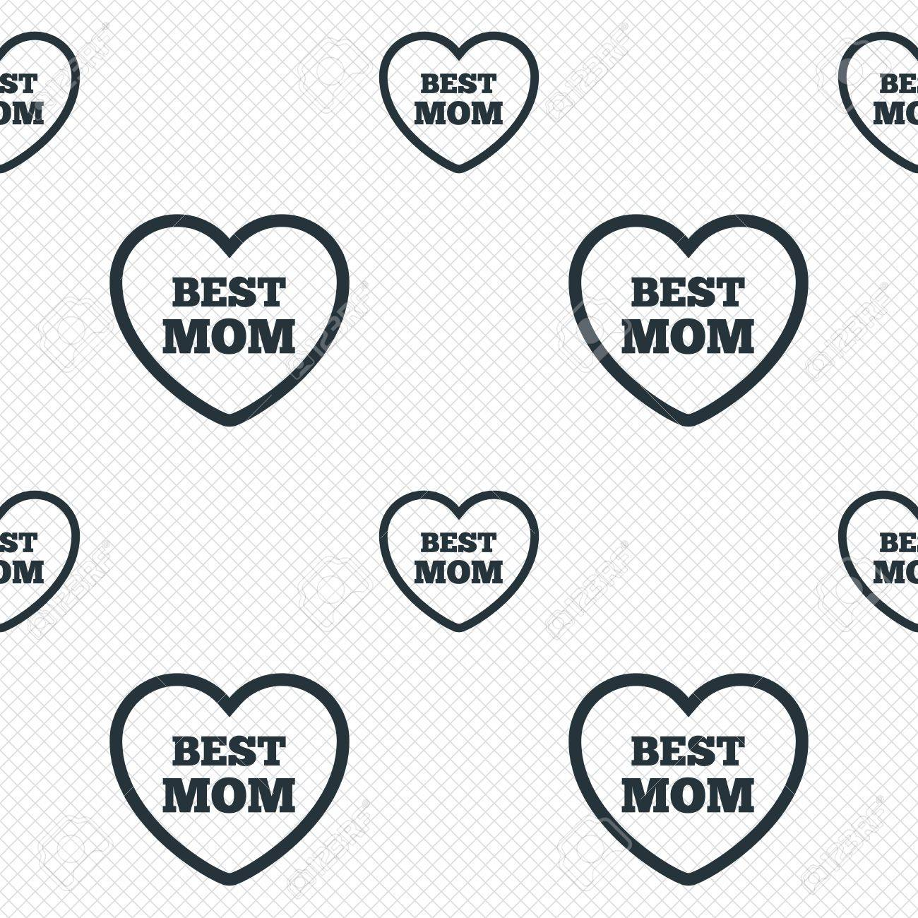 Best mom sign icon Heart love symbol Seamless grid lines texture Cells repeating