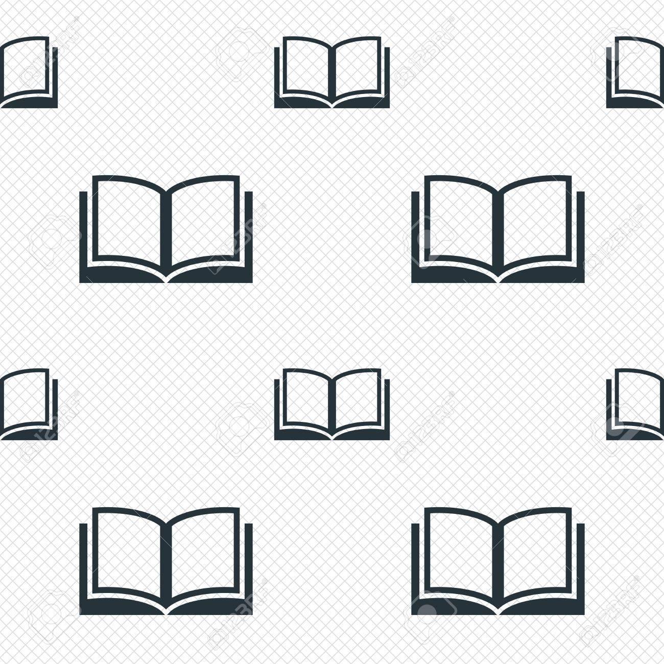Signe Du Livre Icone Ouvert Symbole De Livre Lignes De La Grille Sans Soudure Texture Cellules Motif Repetitif Blanc Texture De Fond Vecteur