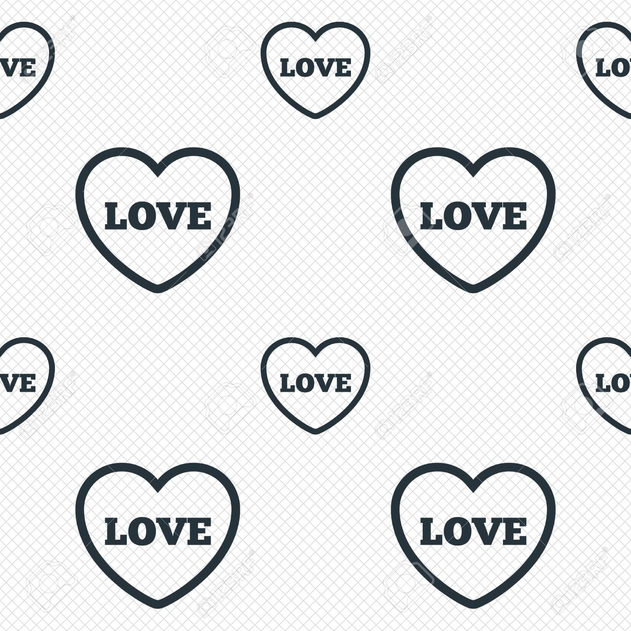 Heart Sign Icon Love Symbol Seamless Grid Lines Texture Cells
